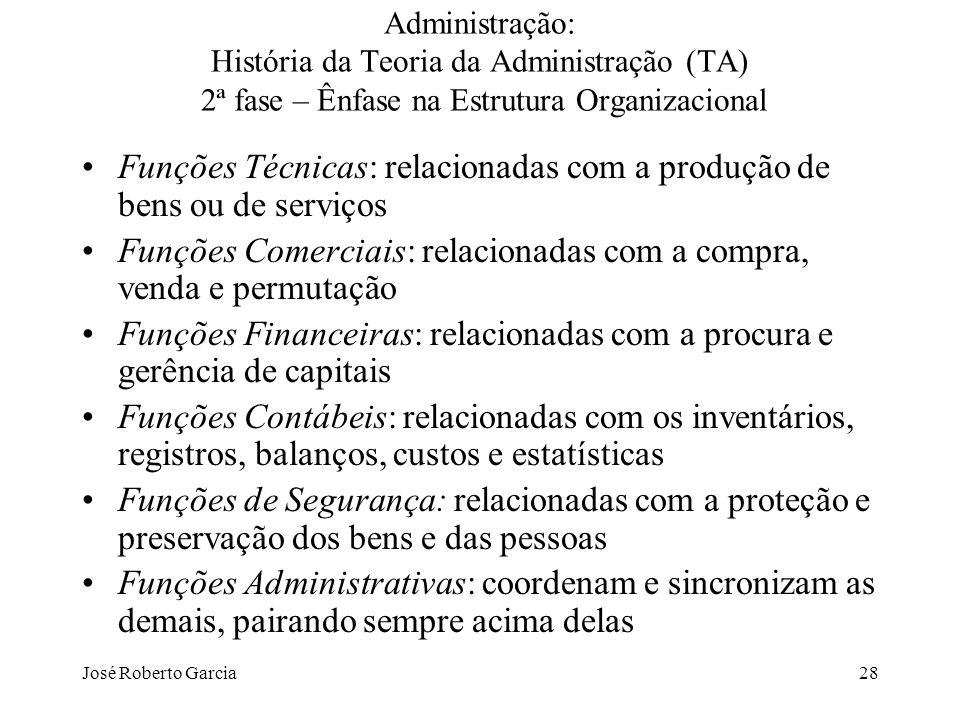 José Roberto Garcia28 Administração: História da Teoria da Administração (TA) 2ª fase – Ênfase na Estrutura Organizacional Funções Técnicas: relaciona