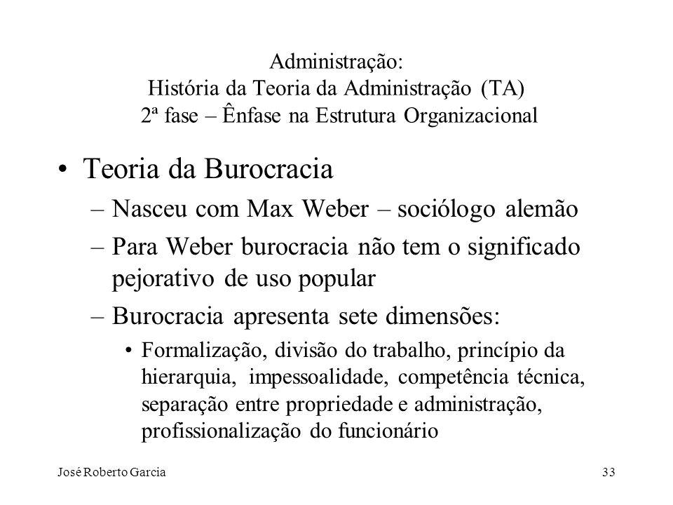 José Roberto Garcia33 Administração: História da Teoria da Administração (TA) 2ª fase – Ênfase na Estrutura Organizacional Teoria da Burocracia –Nasce