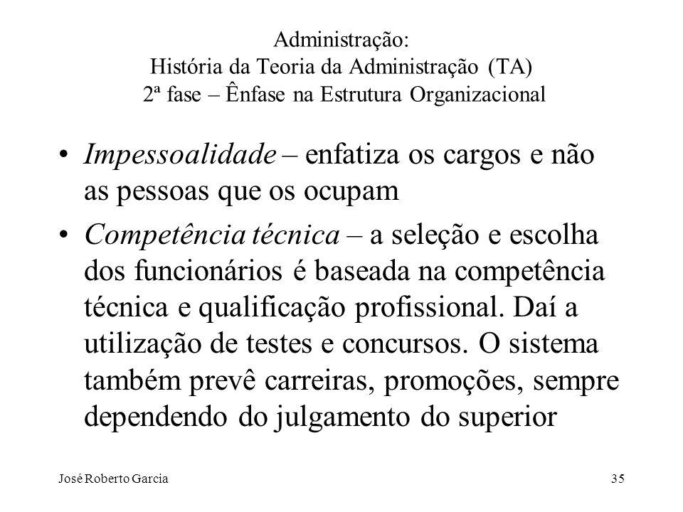 José Roberto Garcia35 Administração: História da Teoria da Administração (TA) 2ª fase – Ênfase na Estrutura Organizacional Impessoalidade – enfatiza o