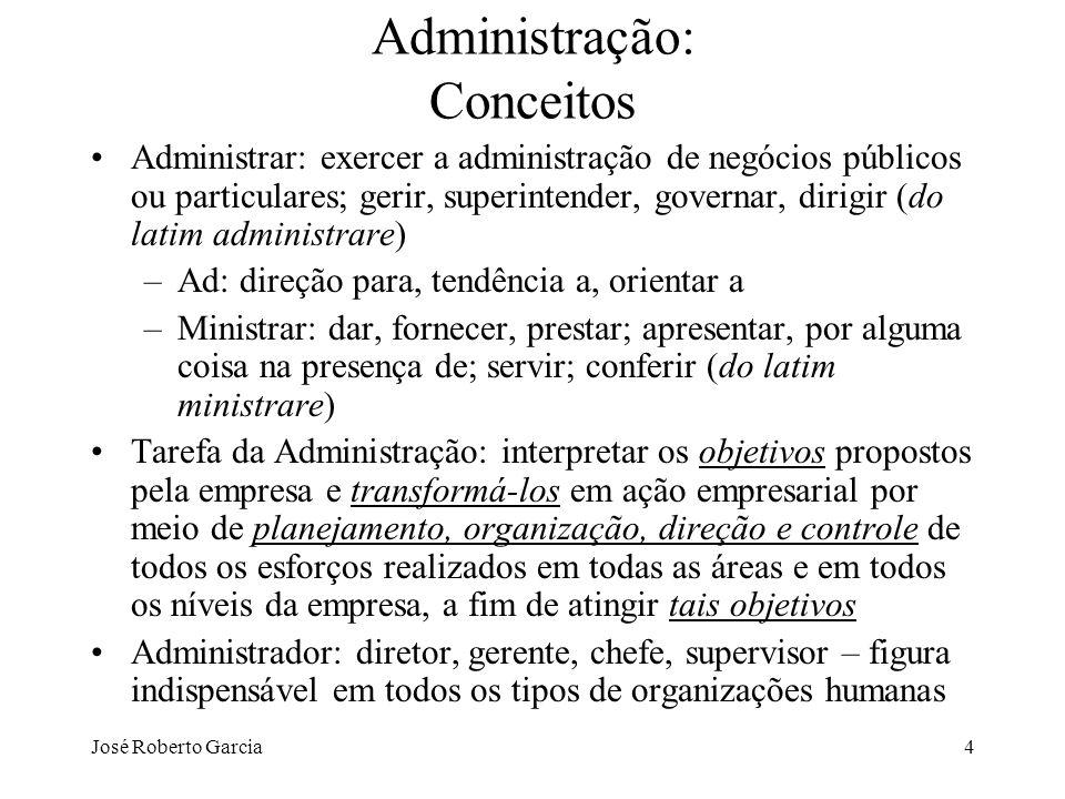 José Roberto Garcia25 Administração: História da Teoria da Administração (TA) 1ª fase – ênfase nas tarefas Ênfase nas tarefas é uma abordagem microscópica, feita no nível do operário e não no nível da empresa como uma totalidade.