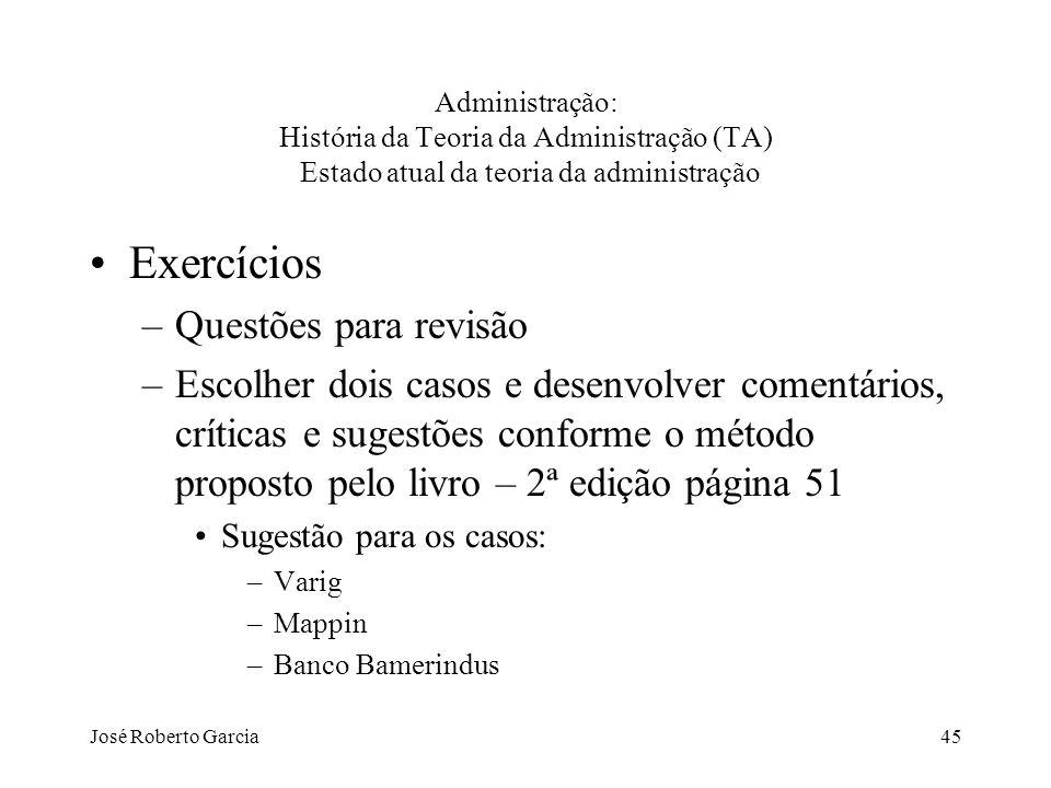 José Roberto Garcia45 Administração: História da Teoria da Administração (TA) Estado atual da teoria da administração Exercícios –Questões para revisã