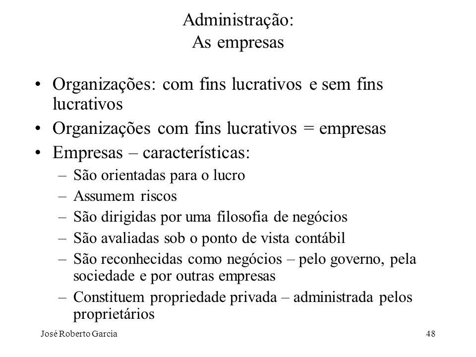 José Roberto Garcia48 Administração: As empresas Organizações: com fins lucrativos e sem fins lucrativos Organizações com fins lucrativos = empresas E