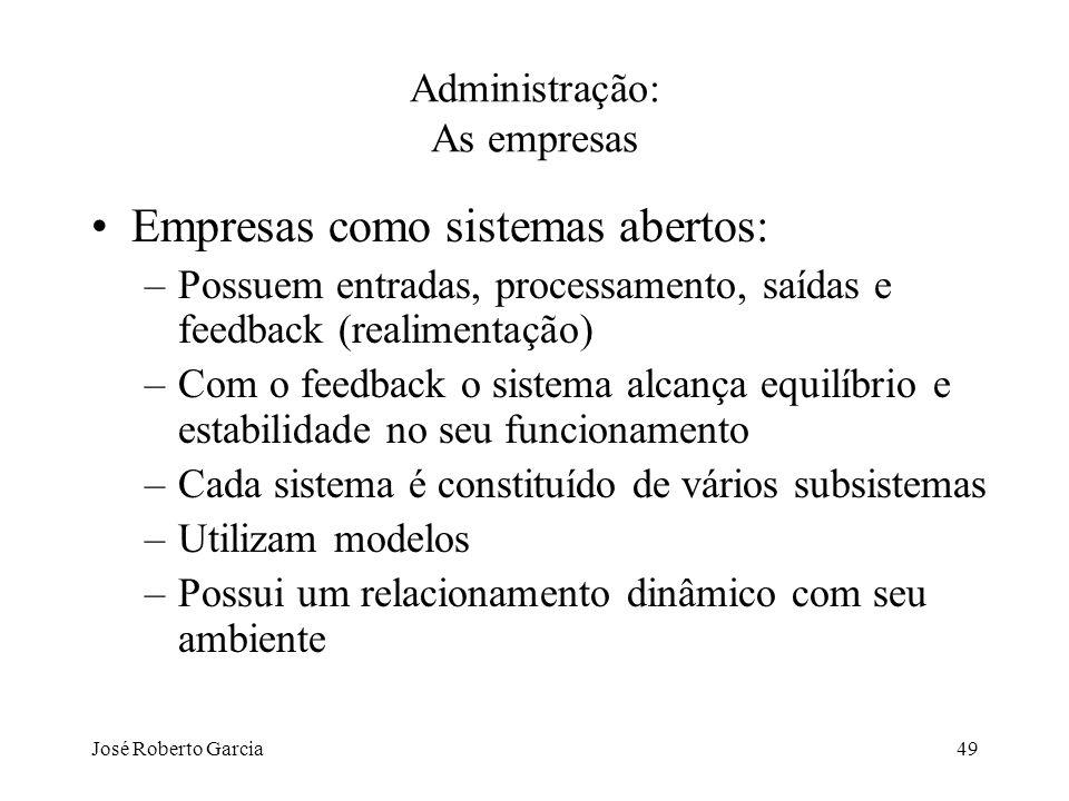 José Roberto Garcia49 Administração: As empresas Empresas como sistemas abertos: –Possuem entradas, processamento, saídas e feedback (realimentação) –
