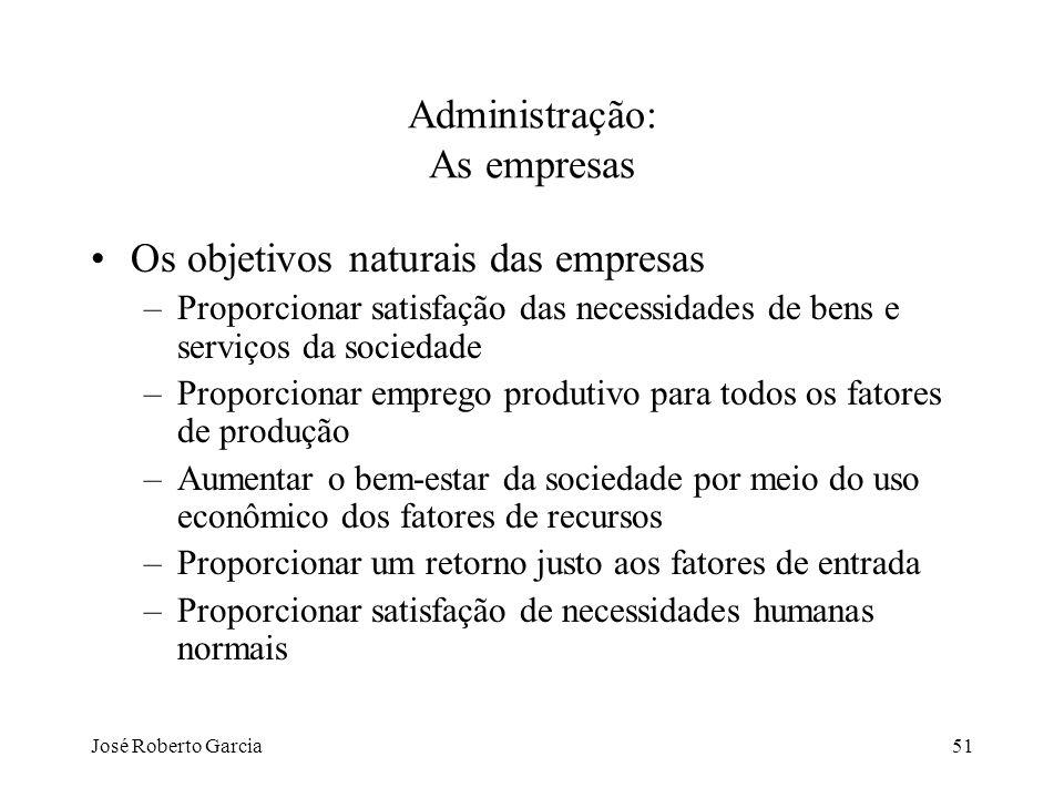 José Roberto Garcia51 Administração: As empresas Os objetivos naturais das empresas –Proporcionar satisfação das necessidades de bens e serviços da so