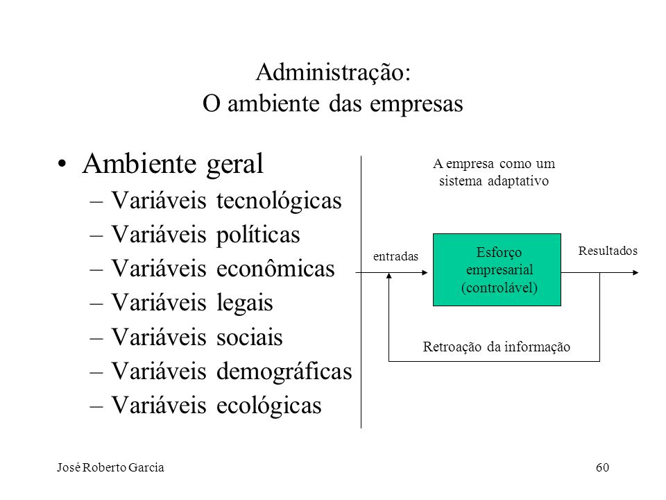 José Roberto Garcia60 Administração: O ambiente das empresas Ambiente geral –Variáveis tecnológicas –Variáveis políticas –Variáveis econômicas –Variáv