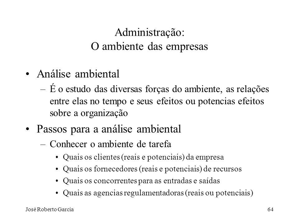 José Roberto Garcia64 Administração: O ambiente das empresas Análise ambiental –É o estudo das diversas forças do ambiente, as relações entre elas no