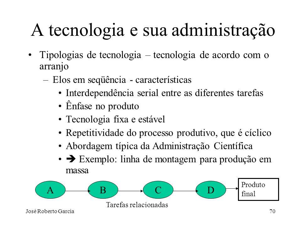 José Roberto Garcia70 A tecnologia e sua administração Tipologias de tecnologia – tecnologia de acordo com o arranjo –Elos em seqüência - característi