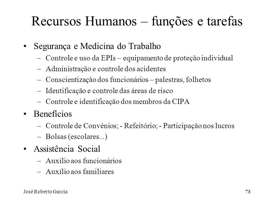 José Roberto Garcia78 Recursos Humanos – funções e tarefas Segurança e Medicina do Trabalho –Controle e uso da EPIs – equipamento de proteção individu
