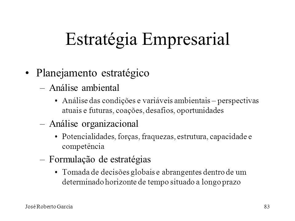 José Roberto Garcia83 Estratégia Empresarial Planejamento estratégico –Análise ambiental Análise das condições e variáveis ambientais – perspectivas a