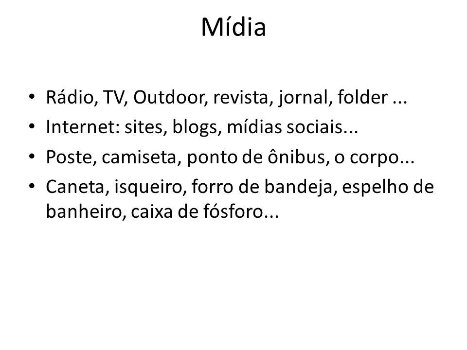 Mídia Rádio, TV, Outdoor, revista, jornal, folder... Internet: sites, blogs, mídias sociais... Poste, camiseta, ponto de ônibus, o corpo... Caneta, is