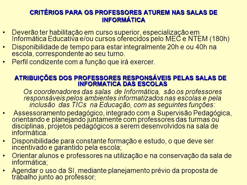 CRITÉRIOS PARA OS PROFESSORES ATUREM NAS SALAS DE INFORMÁTICA Deverão ter habilitação em curso superior, especialização em Informática Educativa e/ou