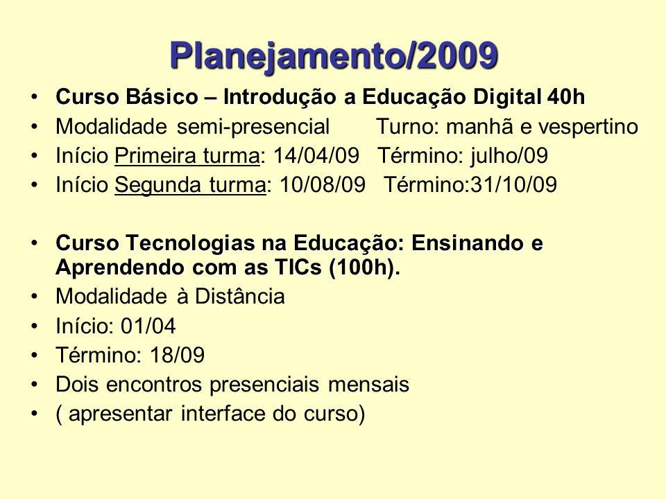 Planejamento/2009 Curso Básico – Introdução a Educação Digital 40hCurso Básico – Introdução a Educação Digital 40h Modalidade semi-presencial Turno: m