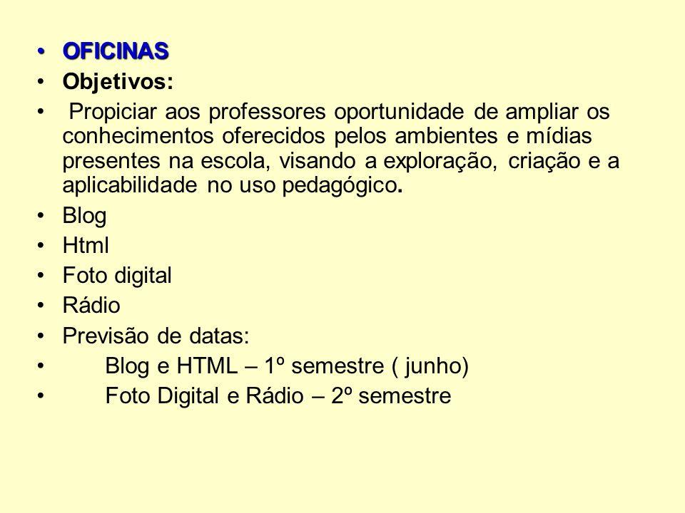 OFICINASOFICINAS Objetivos: Propiciar aos professores oportunidade de ampliar os conhecimentos oferecidos pelos ambientes e mídias presentes na escola