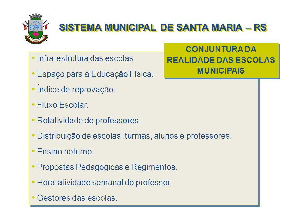 SISTEMA MUNICIPAL DE SANTA MARIA – RS Infra-estrutura das escolas. Espaço para a Educação Física. Índice de reprovação. Fluxo Escolar. Rotatividade de