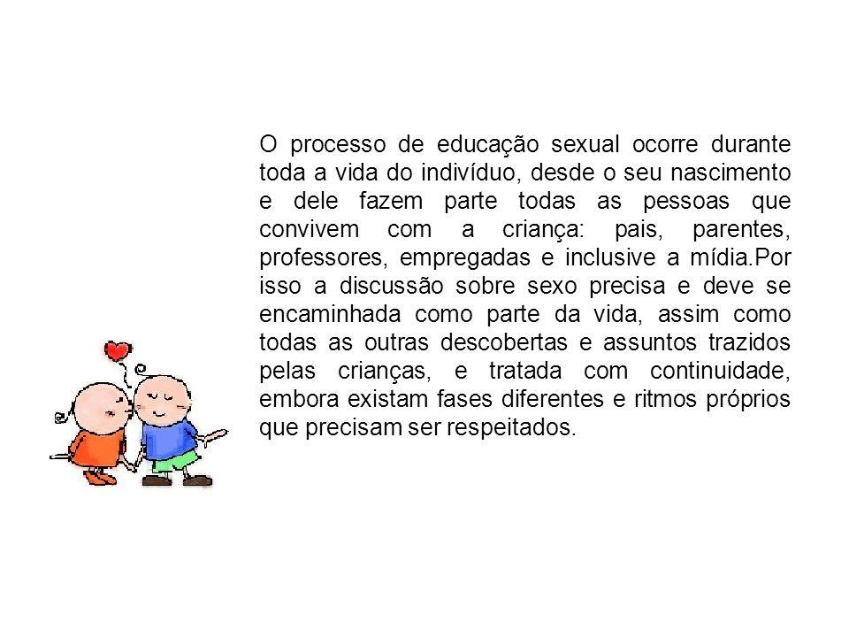 O processo de educação sexual ocorre durante toda a vida do indivíduo, desde o seu nascimento e dele fazem parte todas as pessoas que convivem com a c