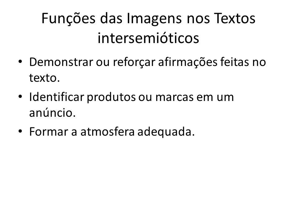 Funções das Imagens nos Textos intersemióticos Demonstrar ou reforçar afirmações feitas no texto. Identificar produtos ou marcas em um anúncio. Formar