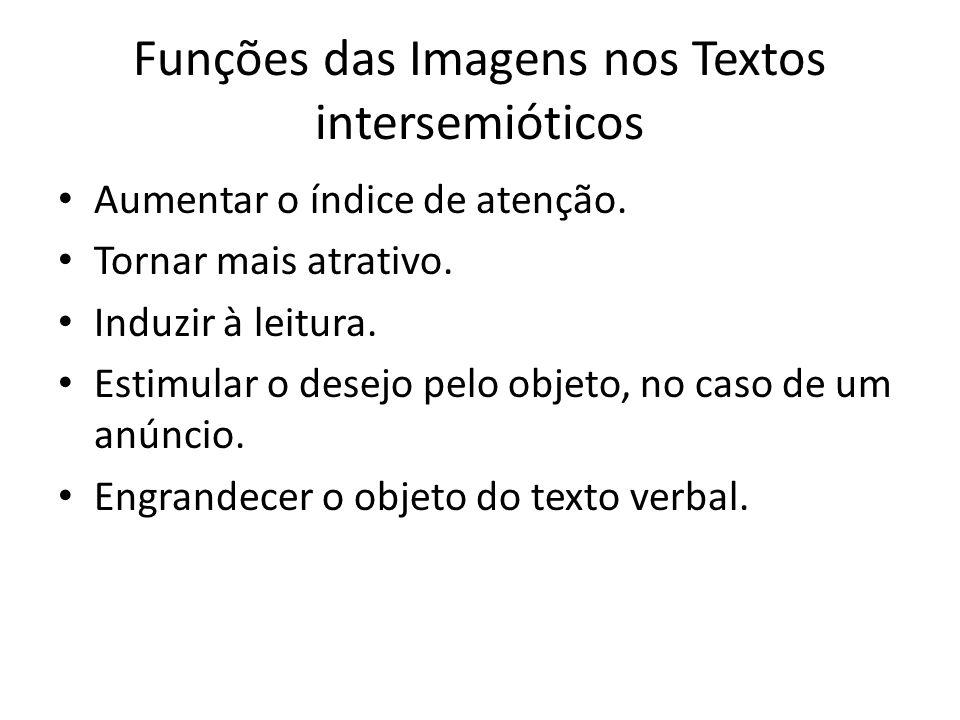 Funções das Imagens nos Textos intersemióticos Aumentar o índice de atenção. Tornar mais atrativo. Induzir à leitura. Estimular o desejo pelo objeto,