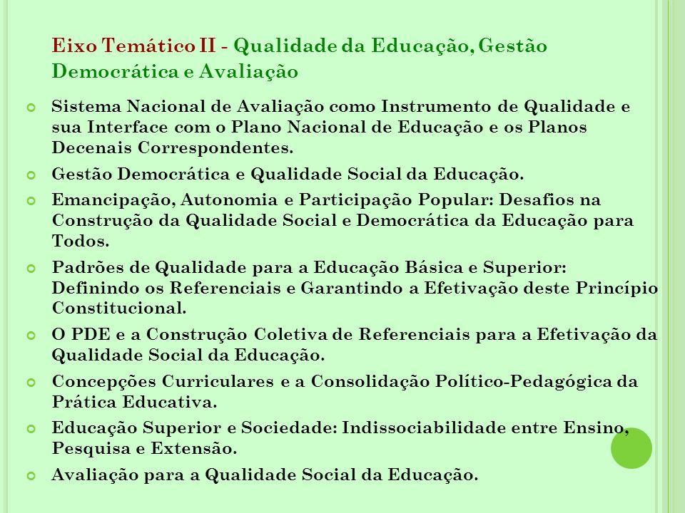 Eixo Temático II - Qualidade da Educação, Gestão Democrática e Avaliação Sistema Nacional de Avaliação como Instrumento de Qualidade e sua Interface c