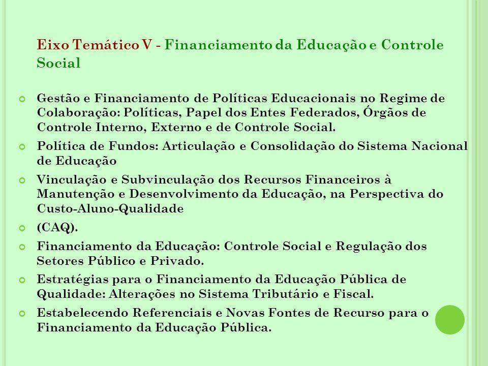 Eixo Temático V - Financiamento da Educação e Controle Social Gestão e Financiamento de Políticas Educacionais no Regime de Colaboração: Políticas, Pa