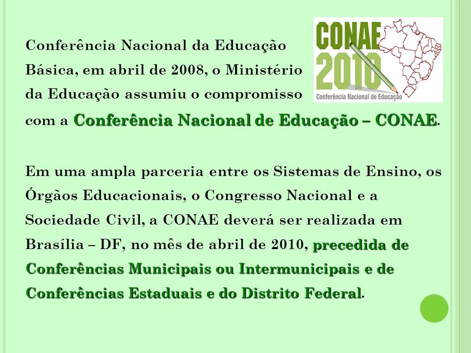 Conferência Nacional da Educação Básica, em abril de 2008, o Ministério da Educação assumiu o compromisso Conferência Nacional de Educação – CONAE com