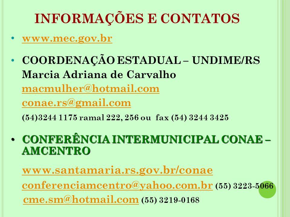www.mec.gov.br COORDENAÇÃO ESTADUAL – UNDIME/RS Marcia Adriana de Carvalho macmulher@hotmail.com conae.rs@gmail.com (54)3244 1175 ramal 222, 256 ou fa