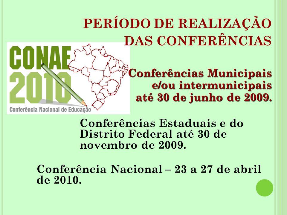 PERÍODO DE REALIZAÇÃO DAS CONFERÊNCIAS Conferências Municipais e/ou intermunicipais até 30 de junho de 2009. Conferências Estaduais e do Distrito Fede