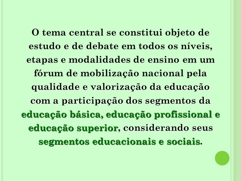 qualidade e valorização da educação com a participação dos segmentos da educação básica, educação profissional e educação superior, considerando seus