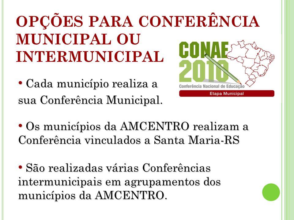 OPÇÕES PARA CONFERÊNCIA MUNICIPAL OU INTERMUNICIPAL Cada município realiza a Cada município realiza a sua Conferência Municipal.