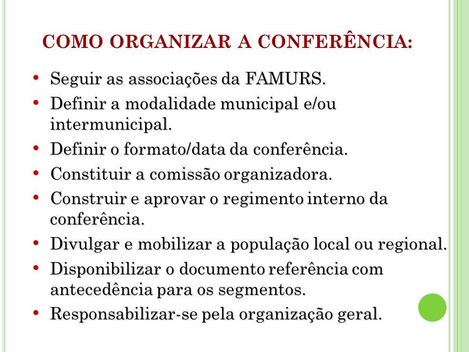 COMO ORGANIZAR A CONFERÊNCIA: Seguir as associações da FAMURS.