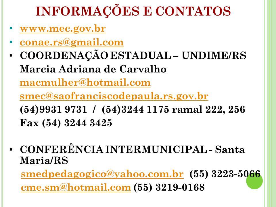 www.mec.gov.br conae.rs@gmail.com COORDENAÇÃO ESTADUAL – UNDIME/RS Marcia Adriana de Carvalho macmulher@hotmail.com smec@saofranciscodepaula.rs.gov.br (54)9931 9731 / (54)3244 1175 ramal 222, 256 Fax (54) 3244 3425 CONFERÊNCIA INTERMUNICIPAL - Santa Maria/RS smedpedagogico@yahoo.com.br (55) 3223-5066smedpedagogico@yahoo.com.br cme.sm@hotmail.com (55) 3219-0168cme.sm@hotmail.com INFORMAÇÕES E CONTATOS
