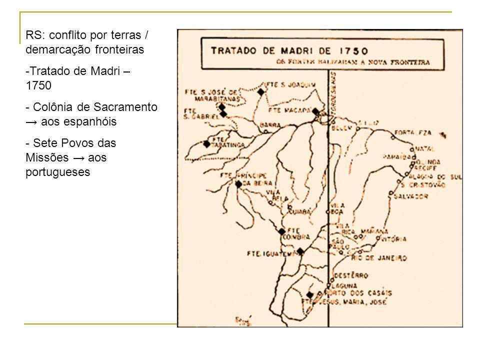RS: conflito por terras / demarcação fronteiras -Tratado de Madri – 1750 - Colônia de Sacramento aos espanhóis - Sete Povos das Missões aos portugueses
