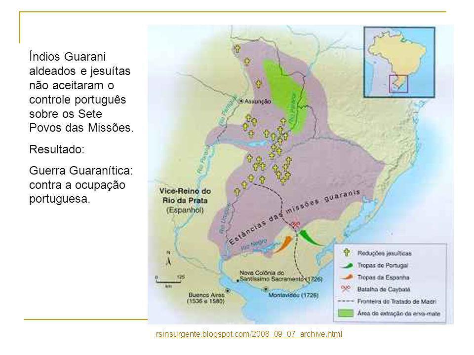 Índios Guarani aldeados e jesuítas não aceitaram o controle português sobre os Sete Povos das Missões.