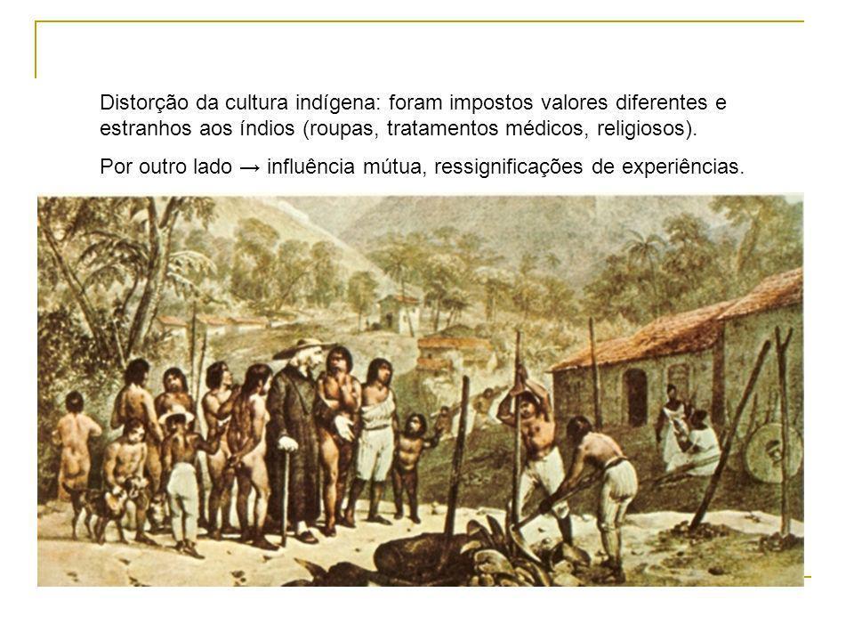 Distorção da cultura indígena: foram impostos valores diferentes e estranhos aos índios (roupas, tratamentos médicos, religiosos).