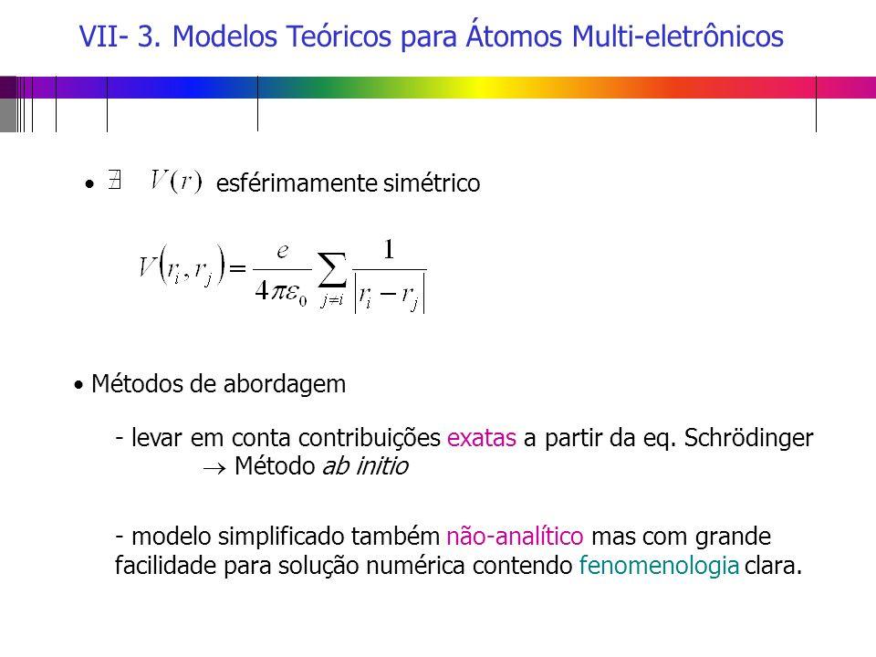 VII- 3. Modelos Teóricos para Átomos Multi-eletrônicos Métodos de abordagem esférimamente simétrico - levar em conta contribuições exatas a partir da
