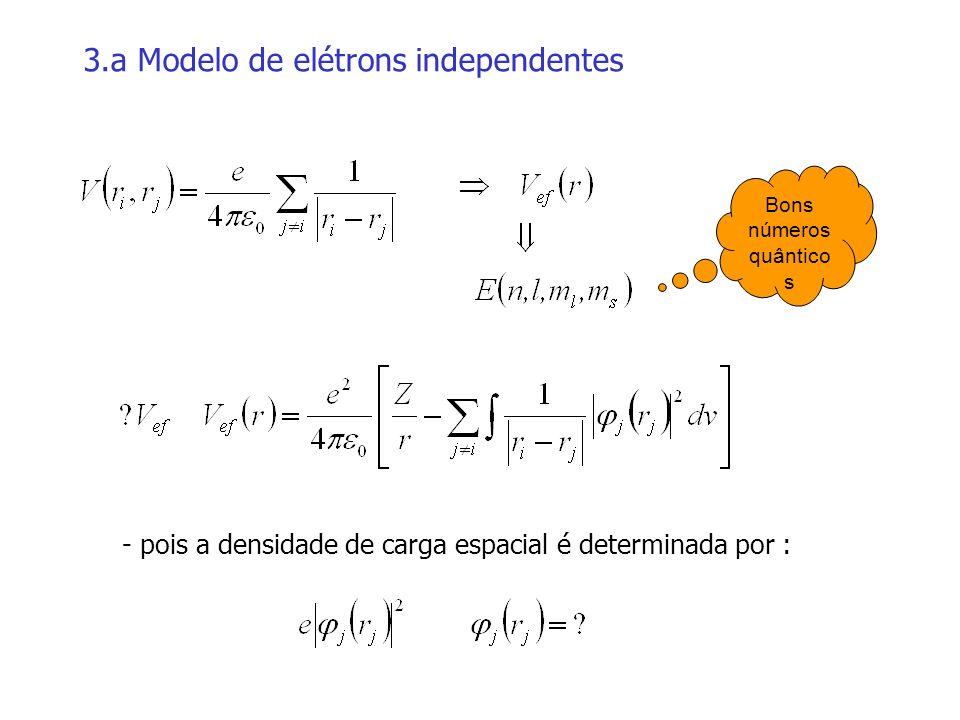 3.a Modelo de elétrons independentes - pois a densidade de carga espacial é determinada por : Bons números quântico s