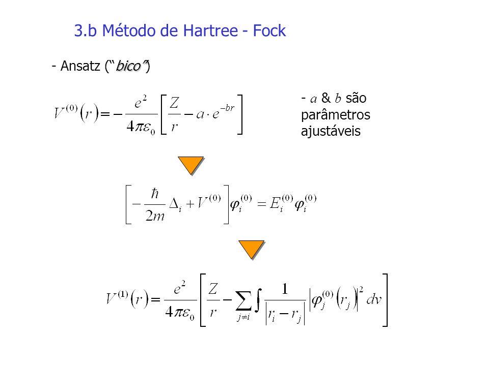 3.b Método de Hartree - Fock bico - Ansatz (bico) - a & b são parâmetros ajustáveis