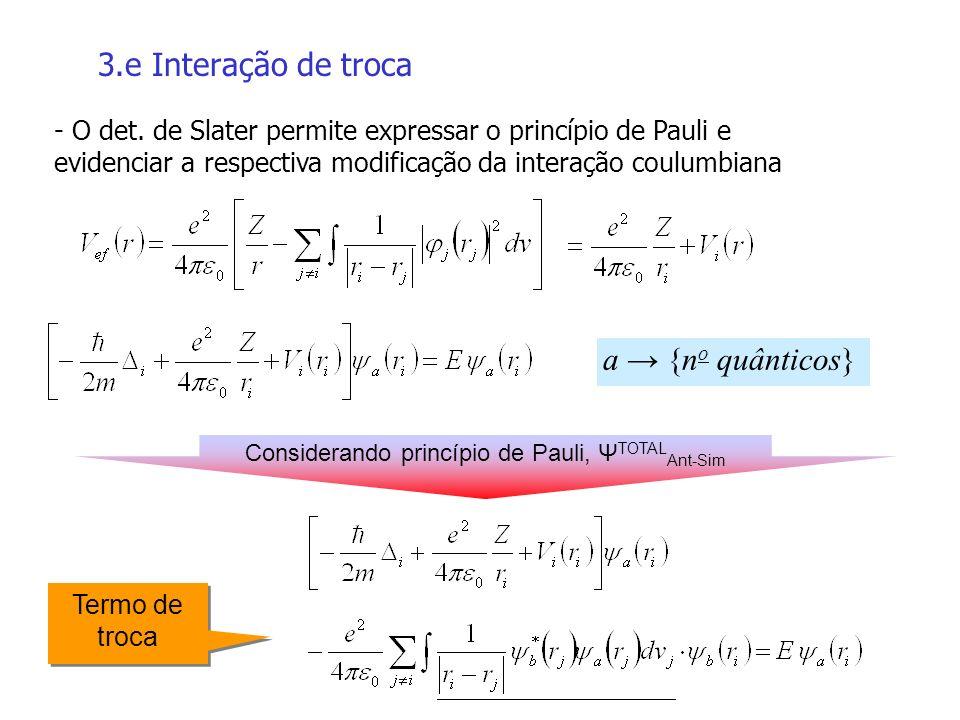 3.e Interação de troca Termo de troca - O det. de Slater permite expressar o princípio de Pauli e evidenciar a respectiva modificação da interação cou