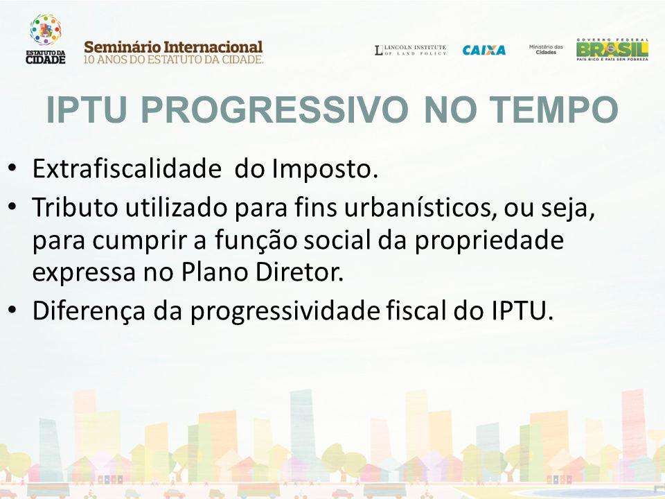 IPTU PROGRESSIVO NO TEMPO Extrafiscalidade do Imposto. Tributo utilizado para fins urbanísticos, ou seja, para cumprir a função social da propriedade