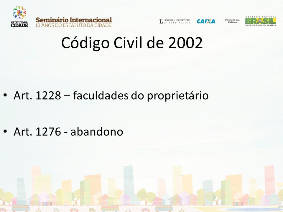 Código Civil de 2002 Art. 1228 – faculdades do proprietário Art. 1276 - abandono