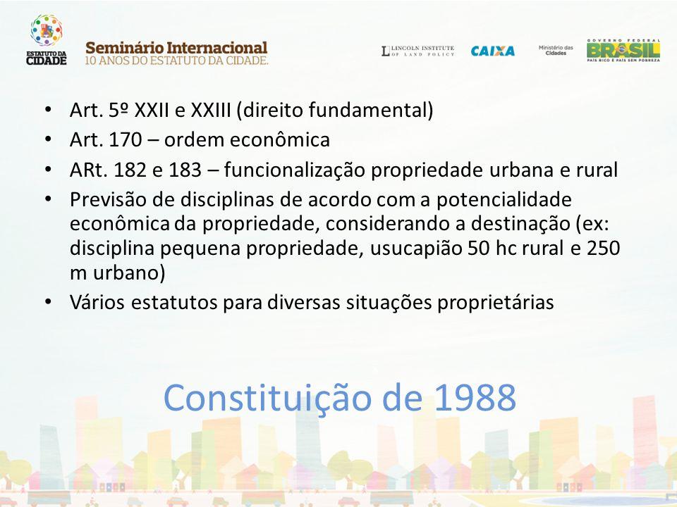 Constituição de 1988 Art. 5º XXII e XXIII (direito fundamental) Art. 170 – ordem econômica ARt. 182 e 183 – funcionalização propriedade urbana e rural