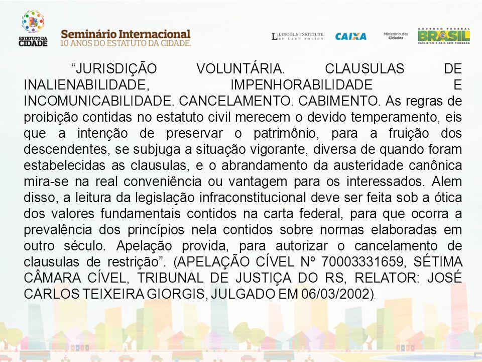 INVENTARIO.CLAUSULAS RESTRITIVAS DE PROPRIEDADE.