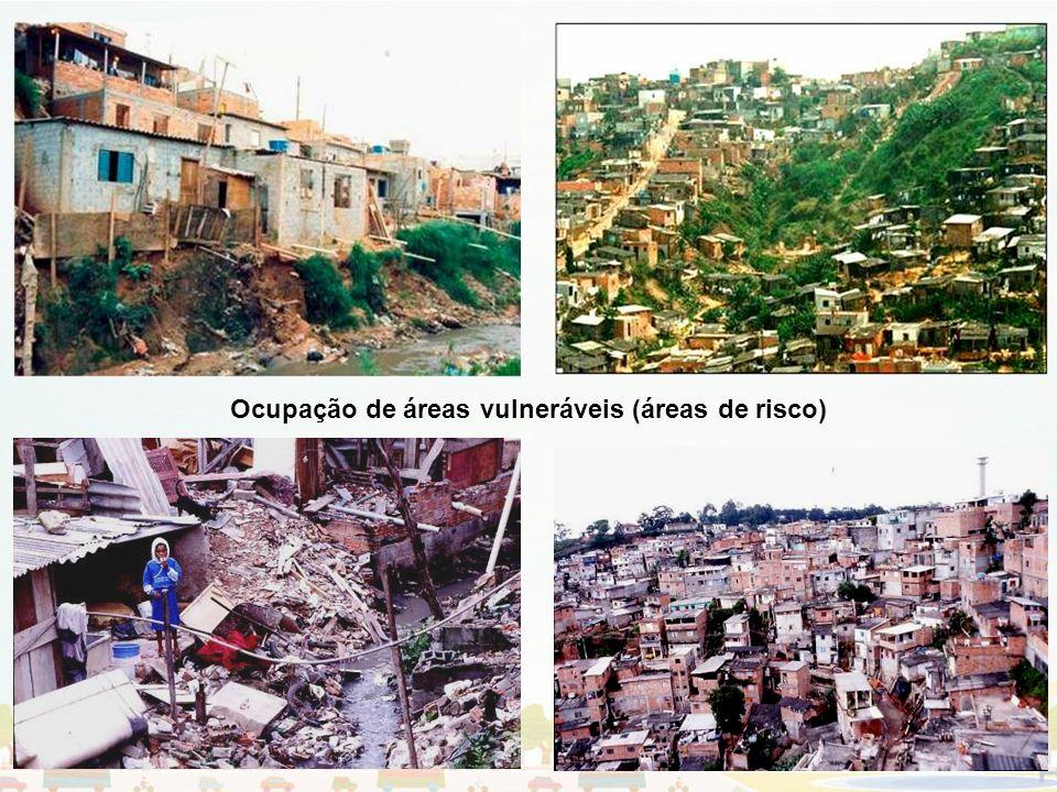 Disparidade de padrões de renda e de urbanização no espaço urbano: contigüidade e segregação Ocupação de áreas vulneráveis (áreas de risco)