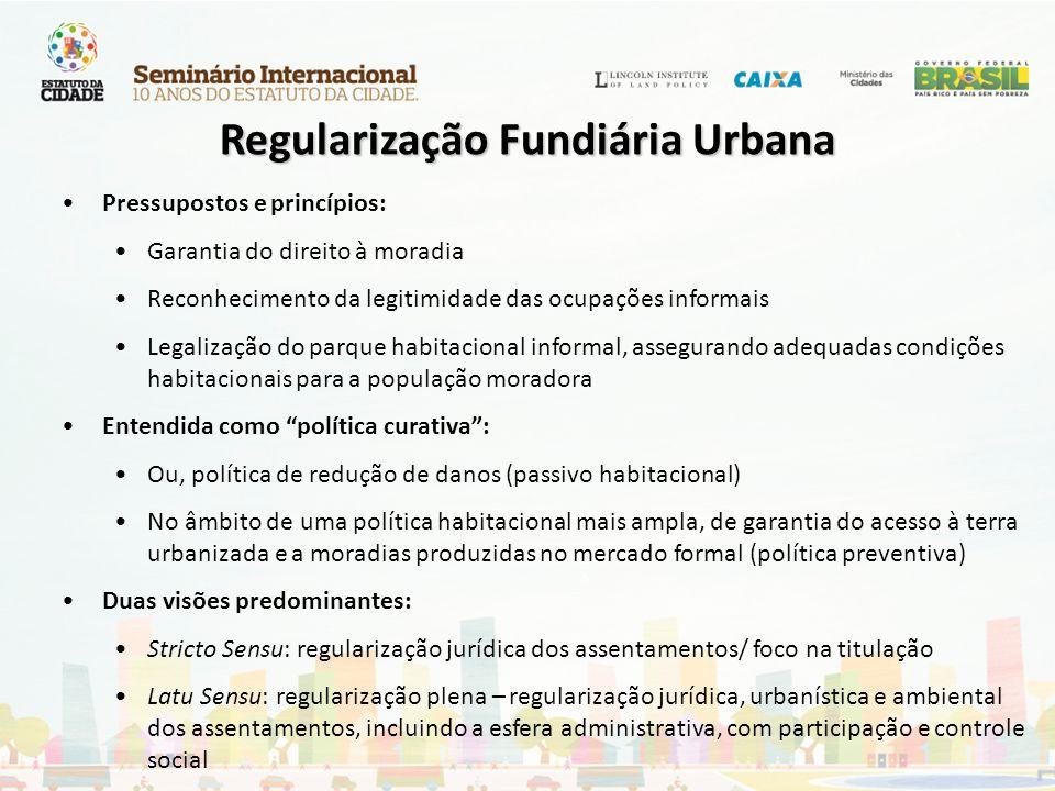 Pressupostos e princípios: Garantia do direito à moradia Reconhecimento da legitimidade das ocupações informais Legalização do parque habitacional inf