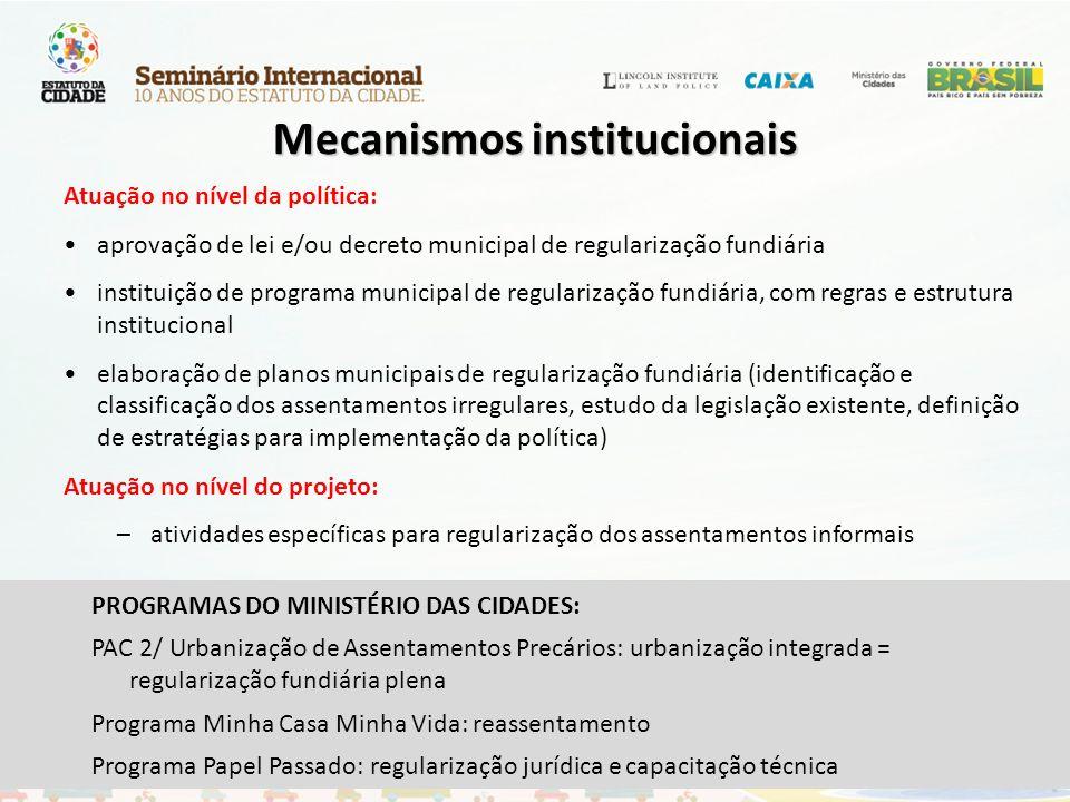 Mecanismos institucionais Atuação no nível da política: aprovação de lei e/ou decreto municipal de regularização fundiária instituição de programa mun