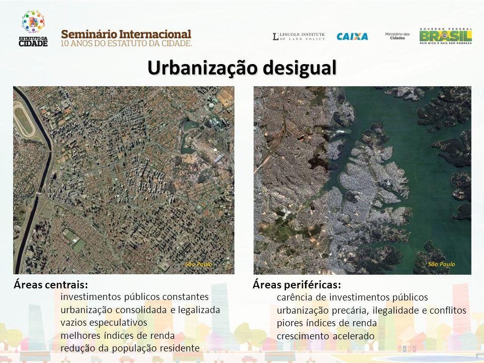 São Paulo investimentos públicos constantes urbanização consolidada e legalizada vazios especulativos melhores índices de renda redução da população r