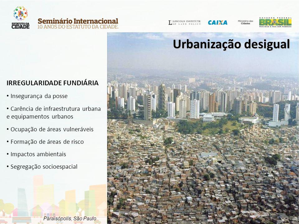 Paraisópolis, São Paulo IRREGULARIDADE FUNDIÁRIA Insegurança da posse Carência de infraestrutura urbana e equipamentos urbanos Ocupação de áreas vulne