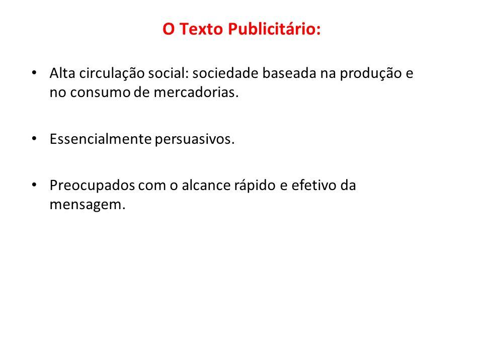 Alta circulação social: sociedade baseada na produção e no consumo de mercadorias. Essencialmente persuasivos. Preocupados com o alcance rápido e efet