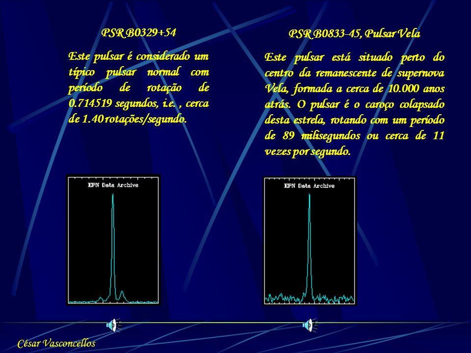 PSR B0329+54 Este pulsar é considerado um típico pulsar normal com período de rotação de 0.714519 segundos, i.e., cerca de 1.40 rotações/segundo. PSR