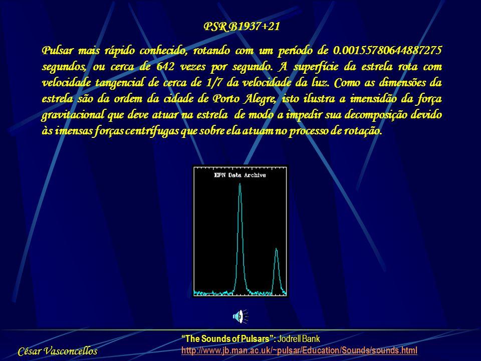 PSR B1937+21 Pulsar mais rápido conhecido, rotando com um período de 0.00155780644887275 segundos, ou cerca de 642 vezes por segundo. A superfície da