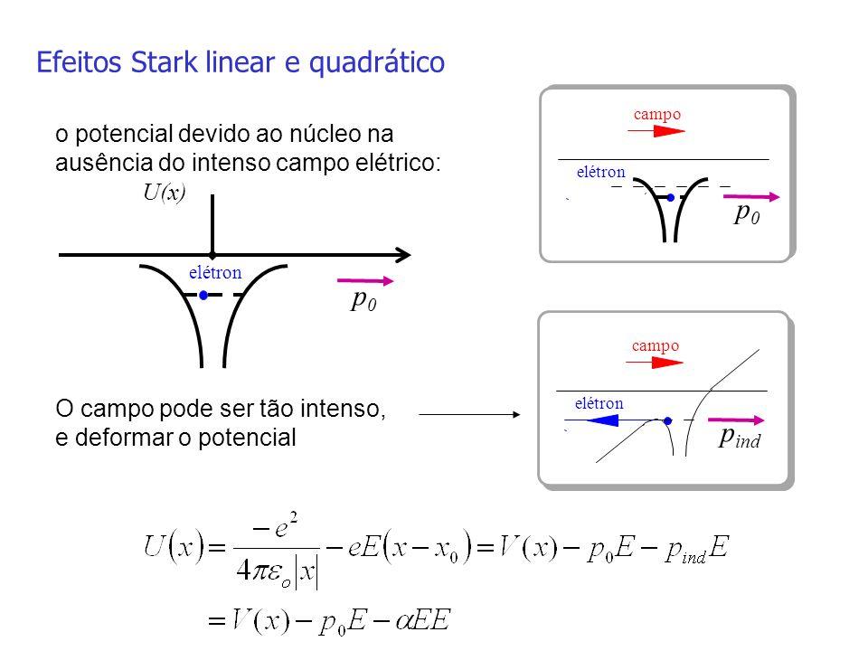 Efeitos Stark linear e quadrático o potencial devido ao núcleo na ausência do intenso campo elétrico: U(x) elétron O campo pode ser tão intenso, e def